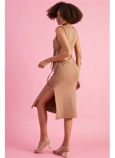 Z Giyim Kadın  Bej  Yanları Dekolteli 0 Kol Elbise Vizon